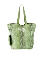 Green Reptile Skin Leather Tote Bag With Pouch - Phive Rivers