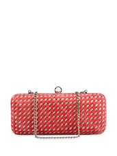 Pink Patterned Suede Leather Clutch with Metallic Chain Handles