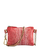 Red Snake Print Sling Bag With Metallic Chain Handles - Phive Rivers