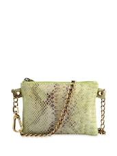 Green Snake Print Sling Bag With Metallic Chain Handles - Phive Rivers