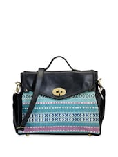 Black Leatherette Handbag With Multicoloured Fabric Patch - Phive Rivers