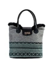 Grey Printed Handbag With Black Fur - Phive Rivers