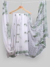 Pristine White Saree With Green Chikankari Work - Ada