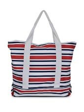 Red, Blue And White Striped Tote Bag - Art Forte