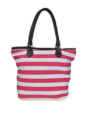 Pink And White Striped Tote Bag - Art Forte