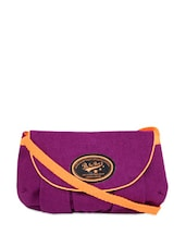 Solid Purple Sling Bag Cum Clutch - Be... For Bag