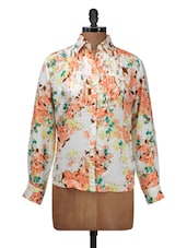 White Floral Shirt With Pleated Front - Silk Weavers