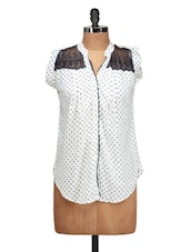 Stylish White Polka Dotted Shirt With Lace Detailing - Silk Weavers