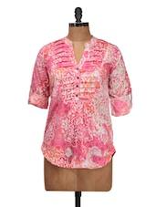 Pink Printed Pleated Top - Silk Weavers