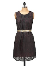 Black Lace Party Dress With Gold Belt - Silk Weavers