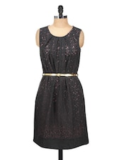 Stunning Black Lace Party Dress With Gold Belt - Silk Weavers