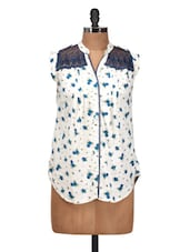 Stylish White Floral Printed Sleeveless Top With Lace Detailing - Silk Weavers