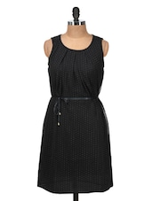 Solid Black Polka-dotted Sleeveless Dress - Silk Weavers