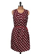 Maroon And White Heart Print Dress - Silk Weavers