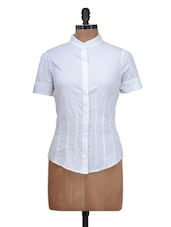 Solid White Casual Shirt - Silk Weavers