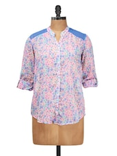 Amazing Blue Floral Printed Top - Silk Weavers