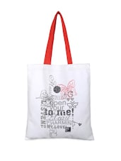 White Printed Tote Bag With Red Handles - YOLO - You Only Live Once
