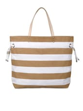 Brown And White Striped Tote Bag - YOLO - You Only Live Once