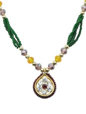 Green And Yellow Beaded Necklace - AAKSHI