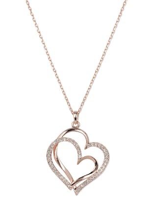 Rose gold plated Crystal Dual heart Pendant