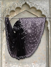 Black & White Chikankari Saree - Ada