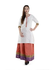 White Kurta And Carrot Red Ghagra Skirt Set - Free Living