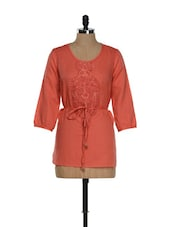 Sequinned Coral Tie-up Tunic - RENA LOVE