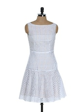 Laser Cut White Cotton Dress - RENA LOVE