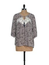 Printed Georgette Blouse Top With Neck Tie-up - RENA LOVE