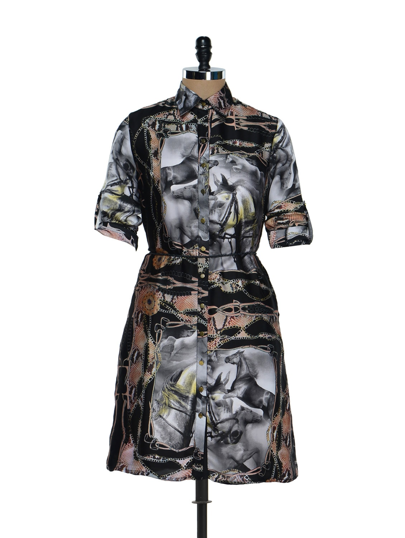 Horse Print Graphic Shirt Dress - RENA LOVE