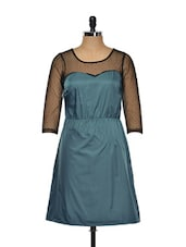 Blue Dress With Black Net Neck And Arms - KAXIAA