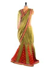 Mehendi Green And Red Lehenga Saree - DLINES