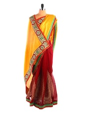Bright Yellow And Red Saree - DLINES