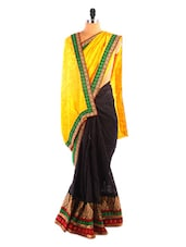 Yellow And Black Colour Blocked Saree - DLINES