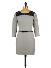 Grey Scallop Lace Fitted Woolen Dress - MARTINI
