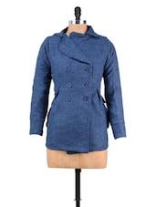 Blue Textured Woolen Jacket - MARTINI