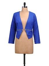 Blue Collarless Zipper Jacket - MARTINI