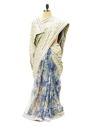 Half flower patterned saree