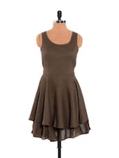 Smart Brown Layered Dress With Drawstring Waist - URBAN RELIGION