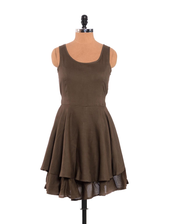 Smart Brown Layered Dress With Drawstring Waist - URBAN RELIGION