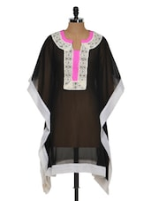 Black, White And Pink Sheer Kaftan - NAVYOU