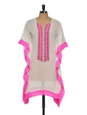 Off-white And Pink Sheer Kaftan - NAVYOU