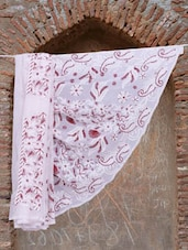 White And Maroon Chikankari Saree - Ada