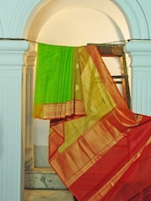 Green And Maroon Kora Cotton Saree - KAASI
