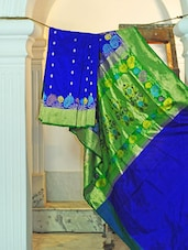 Blue And Green Silk Saree - KAASI