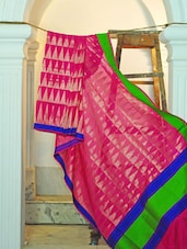 Bright Pink Silk Saree With Blue And Green Border - KAASI