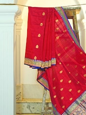 Bright Pink Silk Saree With Booti Work - KAASI