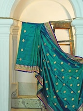 Dark Green Silk Saree With Booti Work - KAASI