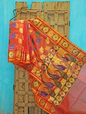 Pink And Orange Kora Silk Saree - KAASI