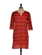 Rust And Orange Printed Long Kurta - Nanni Creations
